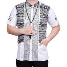 Ormano Baju Koko Muslim Batik Lengan Pendek Lebaran ZO17 KK59 Kemeja Fashion Pria - Putih