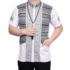 Ormano Baju Koko Muslim Batik Lengan Pendek Lebaran ZO17 KK60 Kemeja Fashion Pria - Putih