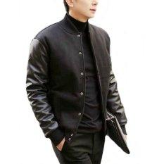 Ormano Jaket Ariel Noah Black Knight Kancing Jacket Hoodie Fleece Kombinasi Lengan Kulit Nyaman Man