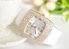 Beli Ormano Jam Tangan Wanita Putih Strap Faux Leather Crystal Square Ladies Watch Yang Bagus