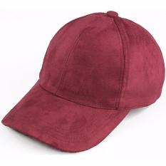 Ormano Topi Snapback Baseball Cap Korean Hip Hop Casual Polos Suede Wanita Pria Fashion Trendy - Merah Marun