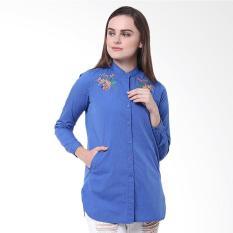 Osella Ladies Woman Shirt Long Filafil Blue With Embro Atasan Wanita - Blue