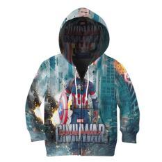 [Ossela.com] Jaket Hoodie Sweater Anak Unisex CAPTAIN AMERICA 3D Printed Sublimation - Art 02