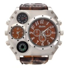OULM Sport Militer Stainless Steel Dial Leather Strap QUARTZ Men Wrist Watch (Kopi)