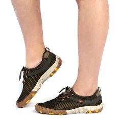 Beli Outdoor Mesh Lace Up Skid Resistance Hiking Sepatu Hijau Army Intl Cicilan