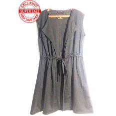 Outer blouse stripe Stylist lengan pendek - sepinggang - black color