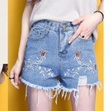 Review Outlet Tinggi Pinggang Casual Denim Shorts Loose Wide Leg Biru Intl Terbaru