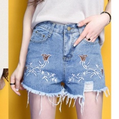 Harga Outlet Tinggi Pinggang Casual Denim Shorts Loose Wide Leg Biru Intl Asli