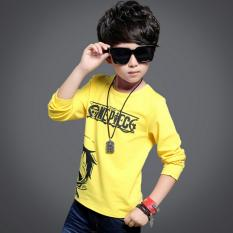 Outlet Korean version of the boy's cotton long-sleeved T-shirt Yellow - intl