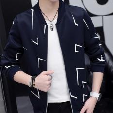 Diskon Pria Temperamen Mode Kasual Outlet Jaket Baseball Biru Tua Coklat Akhir Tahun