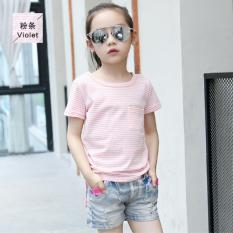 Outlet Anak Dalam Striped Tee T-shirt Pink-Intl