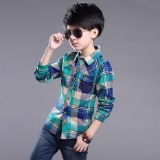 Outlet The new casual boy plaid shirt Green - intl