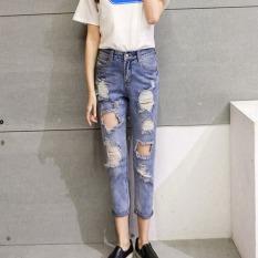 Harga Outlet Women S High Waisted Lubang Di Jeans Biru Intl