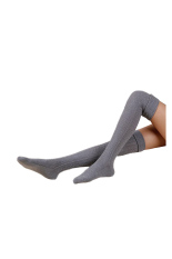 Beli Over Knee Leg Warmer Soft Knit Crochet Sock Grey Oem Murah