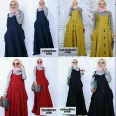 Overall Button/Rok Kodok Muslim/Rok Overall/Rok Panjang/Rok Hijabers/Rok Remaja Murah/Baju Murah