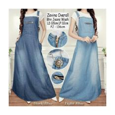 Promo Overall Dress Jeans Jumbo Zoya Biru Tua Murah