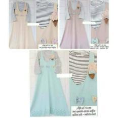 Overall Set Alifa Pastel 2In1 Murah/Overall Warna Pastel/Setelan Muslim Inner Dan Rok Kodok Murah