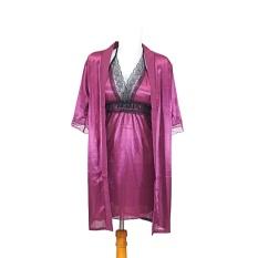 Ovila Kimono Set Dengan Inner Babydoll Lingerie + Gstring - Ungu