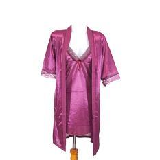 Ovila Kimono Set Dengan Inner TSP Lingerie - Ungu