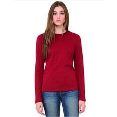 Toko Owl Kaos T Shirt O Neck Lengan Panjang Wanita Merah Marun Labelledesign Di Jawa Barat