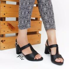 Diskon Own Works Open Toe T Strap Block Mid Heel Sandals Kn01 Hitam Akhir Tahun