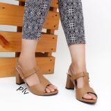 Diskon Own Works Open Toe T Strap Block Mid Heel Sandals Kn01 Mocca Jawa Barat