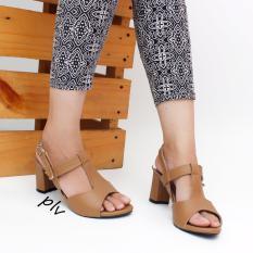 Jual Own Works Open Toe T Strap Block Mid Heel Sandals Kn01 Mocca Murah