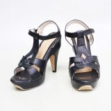 Model Own Works Pump Shoes Toe High Heels T Strap Hitam Terbaru
