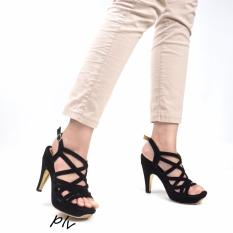 Pluvia - Sepatu Hak Tinggi Pump High Heels Pesta Wanita Open Toe Gladiator AR21 - Hitam