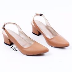 Pluvia - Own Works Sepatu Kerja Pantofel Wanita Block High Heels Slingback PVS - Camel