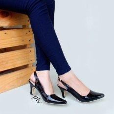 Own Works Sepatu Pantofel Wanita Heels Slingback PVD - Hitam
