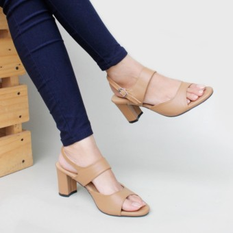 Pluvia - Own Works Sepatu High Heels Hak Tinggi Tahu Wanita Ankle Strap SKA03 - Moka