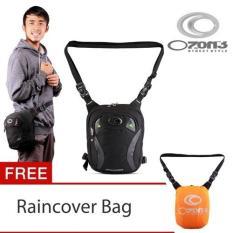 Ozone Tas Paha Pinggang Selempang 836 Xpander (7 inch) + Raincover - List Hijau