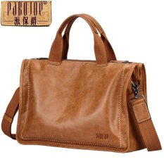 Review Pabojoe Kulit Asli Retrostyle Multifungsi Tote Bag Messenger Satchel Bag Untuk Pria Laptop Briefcase Khaki Intl