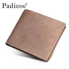 Padieoe Fashion Pria Kulit Asli Lembut Bisnis Dompet Kartu Kasual Vintage Pendek Dompet Male Brown 4.5
