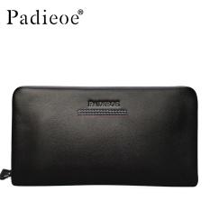 Padieoe Men's Wallet Genuine Leather Clutch Bag Business Simple Men Wallet Card Holders Zipper Coin Purse Men Clutch Bags Black 8.3inch