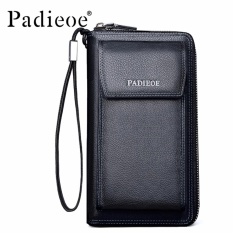 Padieoe Real Cowhide Business Men's Genuine Leather Long Wallet High Quality Phone Card Holder Multi-Function Cluth Bag Wristlet Purse
