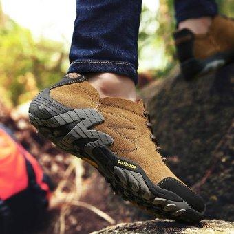 Review Pada Paier 2017 Produk Baru Luar Ruangan Off Road Hiking Sepatu Pria Sepatu Fashion Siswa Sepatu Olahraga Versi Korea Trend Wild Movement Leisure Khaki Intl