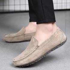 Beli Paier 2017 Tren Baru Ukuran Besar Pria Mengemudi Sepatu Kulit Sapi Sepatu Kasual Santai Kanvas Shoes Plate Sepatu Bernapas Versi Korea Muda Sepatu Khaki Dengan Kartu Kredit