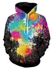 Penawaran Istimewa Paint Splatter Cetak Lengan Panjang Pullover Hoodie Intl Terbaru