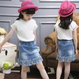 Tips Beli Pakaian Anak Anak Perempuan Baju Anak Perempuan Rok Denim Rok Putih Lengan Pendek Denim Rok Yang Bagus