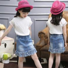 Jual Pakaian Anak Anak Perempuan Baju Anak Perempuan Rok Denim Rok Putih Lengan Pendek Denim Rok Online