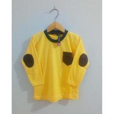 Pakaian Anak Unisex / Size S M L / Kaos Polos Kuning Lengan Panjang Elbow