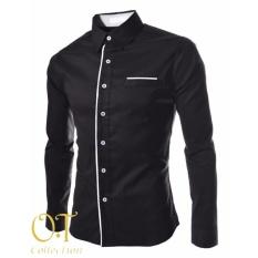 Harga Pakaian Kemeja Pria Katun Stretch Hitam Hem Peter Black Ot Original