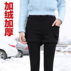 Harga Pakaian Luar Musim Gugur Dan Dingin Ukuran Besar Wanita Celana Tambah Beludru Bottoming Celana Seolah Olah Dua Potongan Hitam Tambah Beludru Celana Termurah
