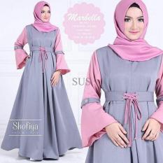 Pakaian Murah Wanita / Marbella Dress Warna Gelap Gamis Brukat Muslim Kekinian Tanah Abang