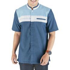 Pakaian Muslim Baju Koko Pria Sarimbit Raindoz RGS 046 Biru Katun