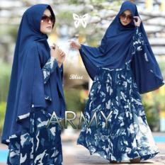 Pakaian Muslimah Wanita - Fashionable - Gamis Syar'i Army Blue