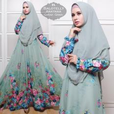 Pakaian Muslimah Wanita - Fashionable - Gamis Syar'I Balotelly Anatasia Green