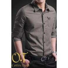 Pakaian Pria Kemeja Slim Fit Warna Abu Tua [Miller Dark Grey OT]